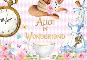 7x5ft Alice in  Wonderland clock flower  backdrop Kids Birthday Party background