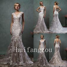 Ivory Wedding Dresses Formal Bridal Gowns Appliques Open Back V-Neck Mermaid