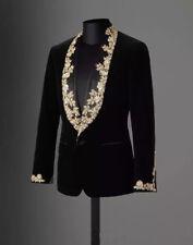 Tuxedo Jacket Mens Slim Fit Gold Dinner Velvet Blazer Shawl Lapel 1 Button Black