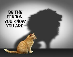 METAL FRIDGE MAGNET Yellow Cat Lion Silhouette Be Person You Know You Are Saying