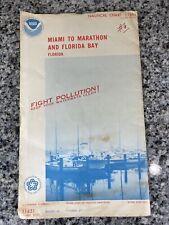 Vtg 1975 FL Miami To Marathon & FL Bay Nautical Chart 11451 Map 13th Ed. NOAA