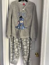 Disney Eeyore Women's  Sleep Softest Plush Fleece Pajama Set Size L Christmas