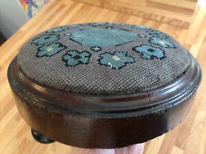Oak Wood Vintage Embroidered Pin Cushion Style Foot Stool  3 Original Feet Legs