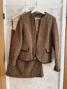 Ladies Brown/beige/tan Boucle Tweed Suit Size 14