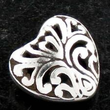 "925 Sterling Silver Design Component finding 3/8"" Heart Double Side Bali Scroll"