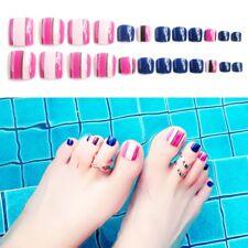 24Pcs Acrylic Artificial Fake French Full False Toe Nails Wide Toe Nail Tips