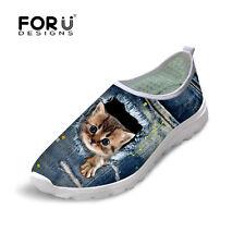 Cute Cat Blue Jane Print Women Light Running Shoes Sport Slip On Mesh Sneakers