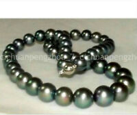 On sale natural 10-11mm perfect round tahitian black pearl necklace 18inch