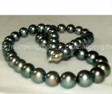 Natural 10-11mm Perfect Round Tahitian Peacock Black Pearl Necklace 18''