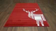 TOP QUALITY NOVELTY 80X150CM APROX 5X3FT WOVEN RUG/MAT NEW STAG CHECK RED/CREAM
