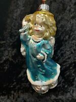 "European Glass 7"" Angel Baby Handcrafted Ornament Enesco 1996 Made In Poland"