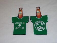 Celtics Shamrock Logo Believe in Boston Beer Bottle Jersey Coozie FREESHIP
