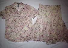Ralph Lauren Floral 2 piece Ruffle Top & Skirt Women's Size S/M
