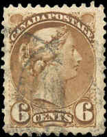 Canada Used 1872 6c F-VF Scott #39b  Perf. 11.5x12 Small Queen Stamp