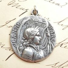 Sterling Silver St Joan of Arc Battle Flag Medal - Antique Replica