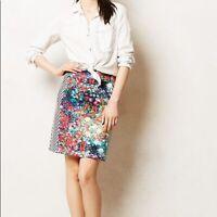 Tabitha Anthropologie Striped Floral Multi Color Black White Pencil Skirt Size 0