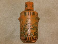 SPARA KERAMIK LARGE ORANGE & BLACK c1960's ART POTTERY VASE 542/30