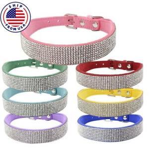 Bling Rhinestone Pet Dog Collar Crystal Cat Necklace Adjustable Small Medium Dog