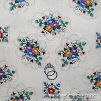 BonEful Fabric FQ Cotton Quilt VTG Antique Classic Flower Red Heart Flower Girl
