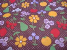 Flowers and Fruit Fabric, Brown 3 Yards