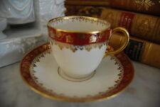 WONDERFUL GDA LIMOGES BURGUNDY AND GOLD IVY TRIM BORDER DEMITASSE CUP & SAUCER 1
