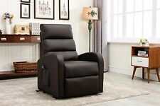Classic Plush Bonded Leather Power Lift Recliner Living Room Chair - Brown