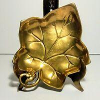 Vintage Solid Brass Large Maple Leaf Tray