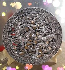 Chinese  workmanship white copper silver Longfeng mirror fortune Furnishing