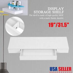 Wall Mount Storage Shelves Floating Display Rack Home Organizer Utility W/Drawer