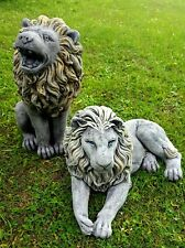 PAIR LARGE LIONS STATUES Stone Gate Post Highly Detailed Garden Ornament Decor