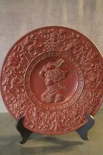 Plat terre cuite style Renaissance profil de femme marqué JM decorative dish