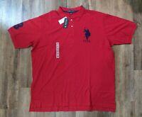 US Polo Assn. Men's Polo Short Sleeve Shirt Red W/ Blue pony Logo SIZE 4XLT USPA