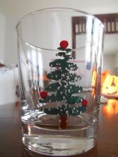 Christmas Tree Star Double Old Fashioned 12 oz. Glass Furio FU05 Italy Red Green