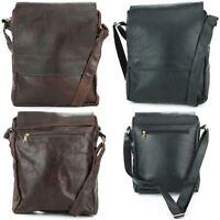 Leather Shoulder Bag Handbag Ladies Men BROWN Real Messenger Satchel