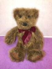"VGUC-10"" Dakin Applause Golden Honey Brown Plush Furry Soft Baby Bear Red Bow"