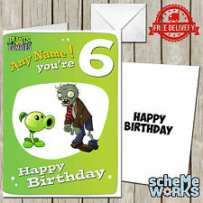 Plants vs Zombies Personalised Birthday Greeting Card Game CA228