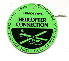 Vintage Airline Luggage Tag PAN AM HELICOPTER CONNECTION 1st class Clipper 1980s