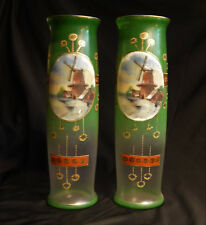 Victorian Art Glass Pair of Mantle Vases Green Gold Handpainted Windmill Scenes