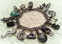 """Vintage 60's Sterling Silver Charm Bracelet & 16 Charms,7.25""""Hawaii, Movers/Rare"""