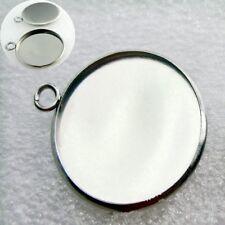Silver Base Blank Bezel Jewelry Round Cabochon Setting Pendant Trays 10pcs 25mm