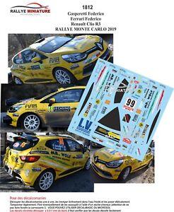 Decals 1/43 Ref 1812 Renault Clio R3 Gasperetti Rally Mounted Carlo 2019 WRC