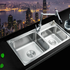 Stainless Steel Kitchen Sink Vessel Set With Chrome Swivel Faucet 2 Sinks