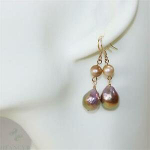 14k Gold Plated Irregular Baroque Pearl Earrings Classic Noble Personality