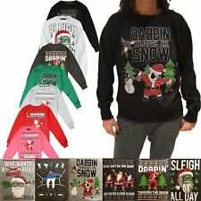 New Mens Christmas Jumpers Xmas Novelty Santa Elf Snowman Printed Sweater S-3XL