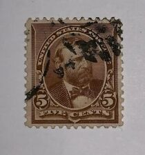 Travelstamps: 1890-1893 US Stamps Scott #223 Used 5 cent Grant Small Bank Note