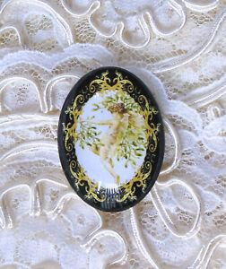 30X40mm Mistletoe Fairy NO GlittKidser Unset Handmade Glass Art Bubble Cameo Cab