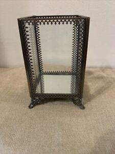 French Antique Ormolu style vitrine jewelry vanity trinket box W/ Mirror