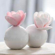 2x Vase Keramik Tisch Deko weiß Kugel Mini rund Casablanca Hochzeit Blume Blüte