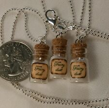 Glow In The Dark fairy dust tiny glass vials 3pcs charm small bottle necklaces