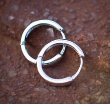 Mens Solid 925 Sterling Silver White Gold Plated Small Huggie Hoop Earrings